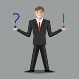 Man weighing decision. Young man with question and exclamation mark. Making decision, thinking, uncertainty, choice concept. EPS 10 vector illustration, no Royalty Free Stock Photo