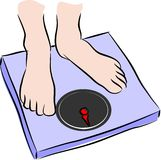 Man on weighing scale Stock Images