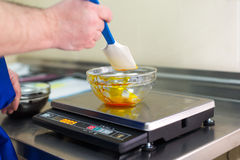Man weighs caramel in a glass bowl. On an electronic balance Royalty Free Stock Photo