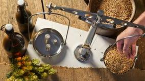 Man Weighs Malt for Home Brewing. Man Weighs Malt for Home Brewing of Beer Stock Image