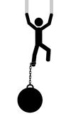 Man with weight. A man is clinging because he don't want to fall. It is a stick figure vector. EPS10 Royalty Free Stock Photos