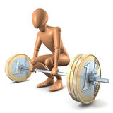 Man weight-lifting dumbell of money Royalty Free Stock Photo