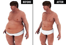 Man Weight Loss Body Transform before and after. A fat heavy man , and a strong fit man after he loosing the weight & fat before and after transformation Stock Photography