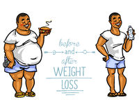 Man before and after weight loss Stock Photography