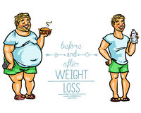 Man before and after weight loss Royalty Free Stock Image