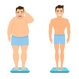 Man before and after weight loss Royalty Free Stock Photos