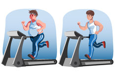 Man before and after weight loss. Fat man and thin man running before and after stock illustration