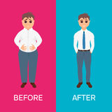 Man before and after weight loss Stock Images