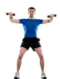 Man weight training Worrkout Posture. On white isolated background Stock Photos