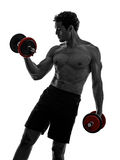 Man weights body builders training  exercises Royalty Free Stock Photo