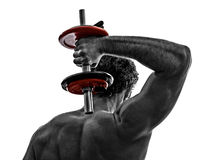 Man weights body builders training  exercises. One man topless muscular exercising body building weights training  in silhouettes on white background Royalty Free Stock Images