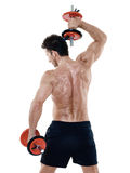 Man weights exercises isolated Royalty Free Stock Image