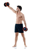 Man weights exercises isolated Stock Photos
