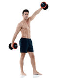 Man weights exercises isolated Stock Images