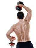 Man weights exercises isolated Stock Photo