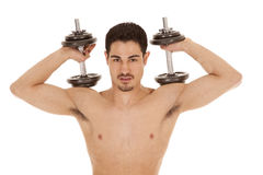 Man weights on shoulders no shirt Stock Photo