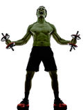 Man weights training  exercises strong like Hulk Stock Image