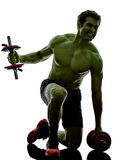 Man weights training exercises strong like Hulk Royalty Free Stock Photos