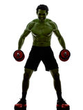 Man weights training  exercises strong like Hulk Royalty Free Stock Photography