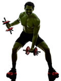 Man weights training  exercises strong like Hulk Stock Photos