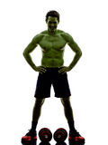 Man weights training  exercises strong like Hulk Royalty Free Stock Photo