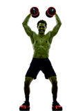 Man weights training  exercises strong like Hulk Stock Images
