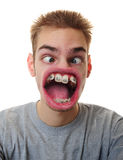 Man with weird mouth Stock Images