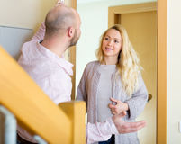 Man welcomes woman Royalty Free Stock Images
