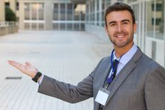 Man with a welcoming gesture isolated royalty free stock photos