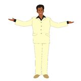 Man welcoming. Illustration of a man welcoming with open arms in a light suit isolated on white background vector illustration