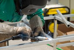 Aluminum bars being welded together Royalty Free Stock Images