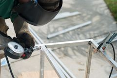 Aluminum bars being welded together Stock Photography