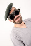 Man with welding glasses and black berete Stock Photography