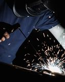 Man welding iron with a protective mask royalty free stock photography