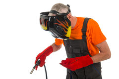 Man with welding mask Royalty Free Stock Images