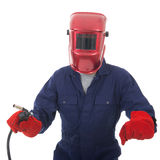 Man with welding mask Stock Images