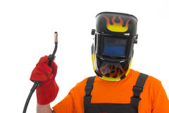 Man with welding mask Stock Photos