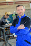 Man in welding shop Royalty Free Stock Photography
