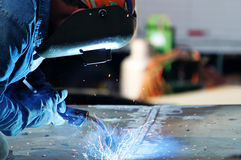 Man Welding Steel Stock Photo