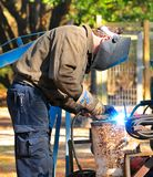 Man welding steel Royalty Free Stock Image