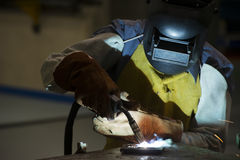 Man welding steel by skill Stock Photography