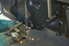 Man welding steel Royalty Free Stock Image