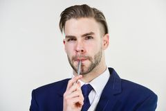 Man well groomed business formal suit white background. Individual entrepreneur business. Business man serious. Entrepreneur. Handsome office worker. Make stock photo