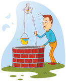 Man at well. Illustration of a man standing near a well. available in vector eps 8 file stock illustration