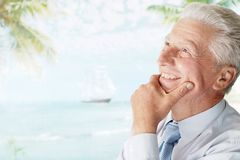 Man went to a resort vacation Stock Image