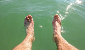 Man wet feet under water Royalty Free Stock Images