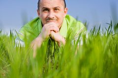 Man in a wheat field Royalty Free Stock Photos