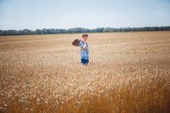 Man on wheat field Royalty Free Stock Photos