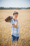 Man on wheat field Royalty Free Stock Photo