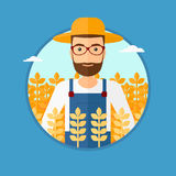 Man in wheat field. A hipster man with the beard standing in a wheat field. Vector flat design illustration in the circle isolated on light blue background Royalty Free Stock Photos